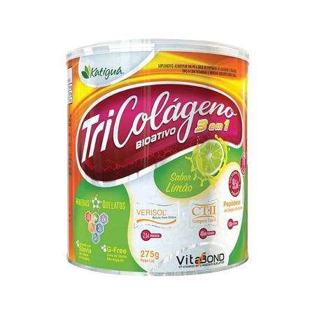 Tri Colágeno Bioativo 3 EM 1 – 270g Peptídeos de Colágeno, Verisol e Tipo II – Sabor Limão – Katiguá - Saúde Pura