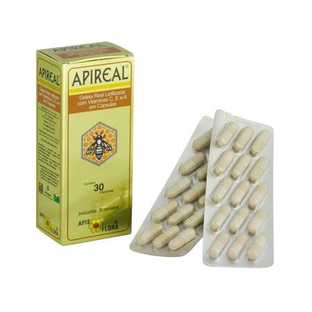 ApiReal (Geléia Real Liofilizada) Apis Flora 100mg 30 Cápsulas - Apireal
