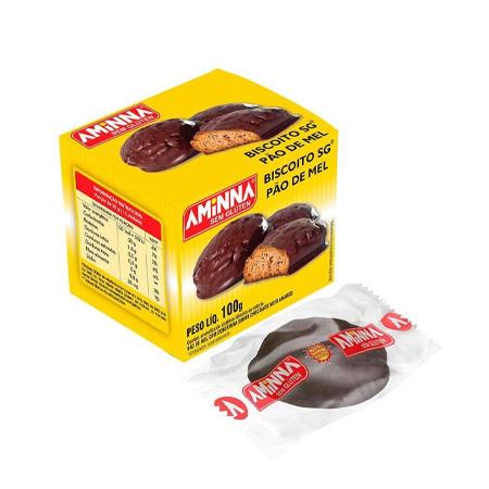 Pão de Mel Meio Amargo Tipo Biscoito Sem Glúten 100g - Aminna
