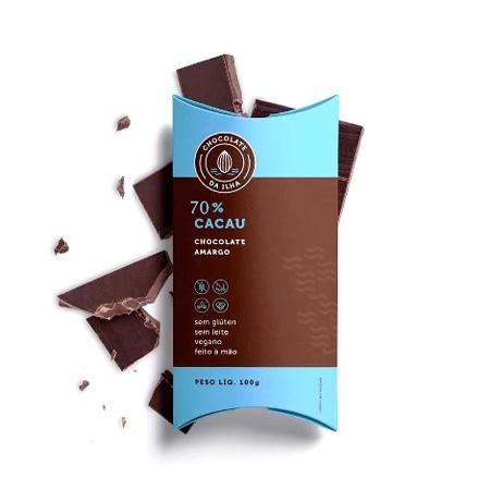 Barra Chocolate Amargo 70% Cacau 100g - Chocolate da Ilha
