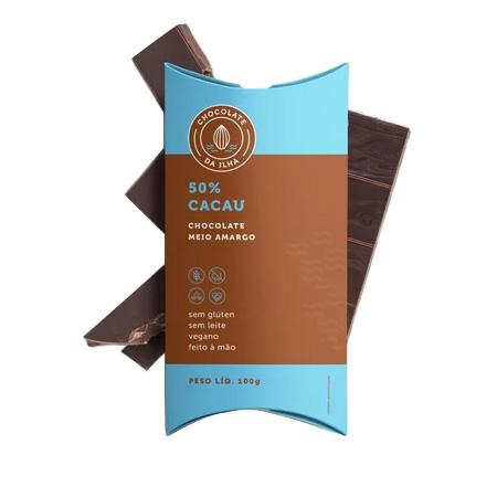 Chocolate Meio Amargo 50% Cacau Sem Leite, Vegano Barra 100g - Chocolate da Ilha